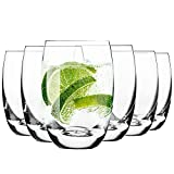 Krosno Water Juice Tumbler Drinking Glasses | Set of 6 | 360 ML | Elite Collection | Crystal Glass | Perfect for Home, Restaurants and Parties | Dishwasher and Microwave Safe