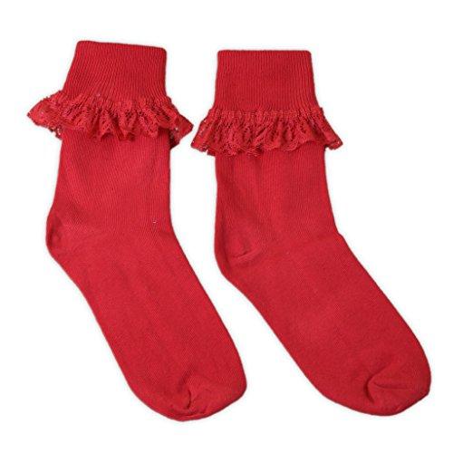 ricas frilly de pares calcetines de 3 las en coloreados algod rojos mujeres zqtTwdW