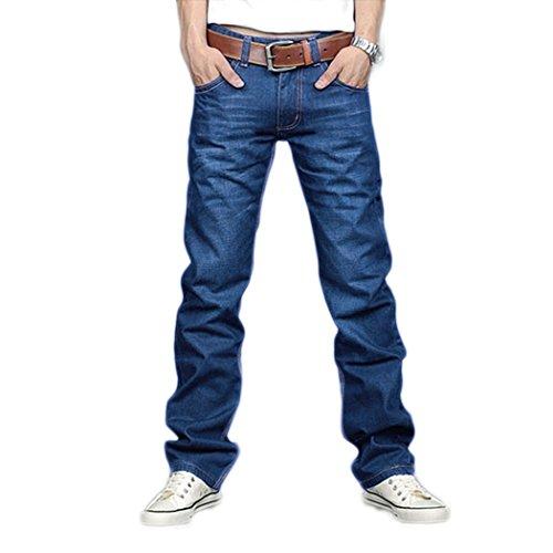 SFY Korea Men Slim Fit Classic Jeans Trousers New Straight Leg Blue Size
