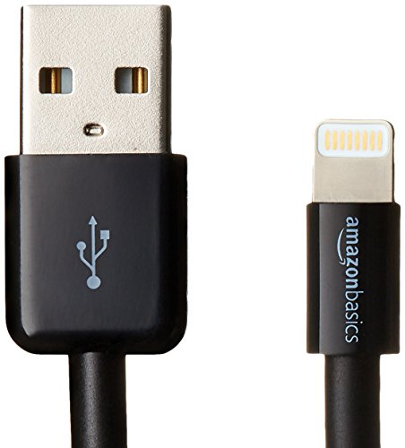 AmazonBasics Lightning to USB A Cable, Apple MFi Certified, Black, 6 Feet/1.8 Meters, 2-Pack