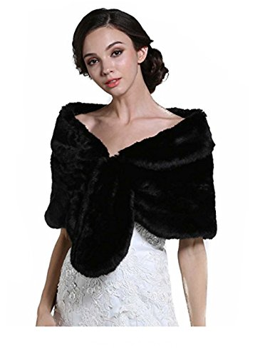 Aukmla Wedding Fur Wraps Shawls for Women with Button (Black)
