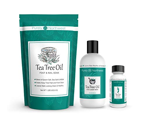Purely Northwest Foot and Toenail Kit with 16 oz Tea Tree Oil Foot Soak, 9 fl oz Antifungal Tea Tree Oil Foot & Body Wash and 1 fl oz Tea Tree Nail Blend. (Best Foot Soak For Nail Fungus)