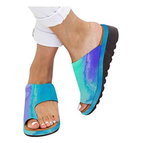 Platform Sandals for Women- 2019 New Comfort Flip Flops Wedge Shoes Flats Beach Casual Slippers (Green -11, EU:41/US:8.0)
