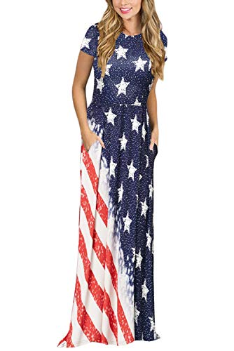 HOTAPEI Summer Long Dresses for Women Casual Loose US American Flag Strar Short Sleeve Tshirt Maxi Dresses with Pockets US 16 18