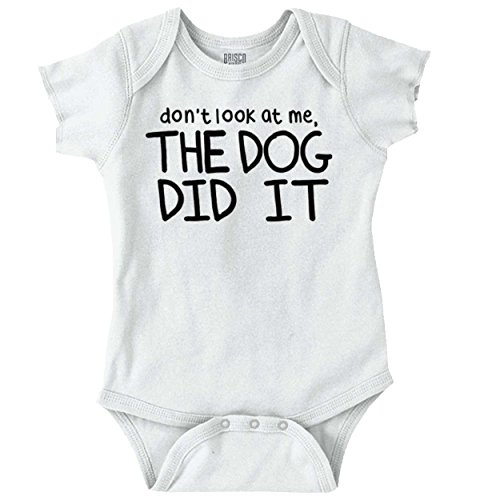 Don't Look at Me Dog Did It Blame Game Pets Romper Bodysuit