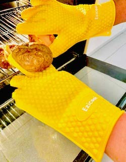 1 Paio Barbecue e griglia per Forno Guanti in Silicone Resistente al Calore Colore Giallo Sole EZICOOK