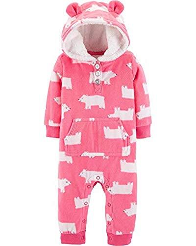 - Carter's Baby Girls' Hooded Fleece Jumpsuit (Pink/Polar Bear, 6 Months)