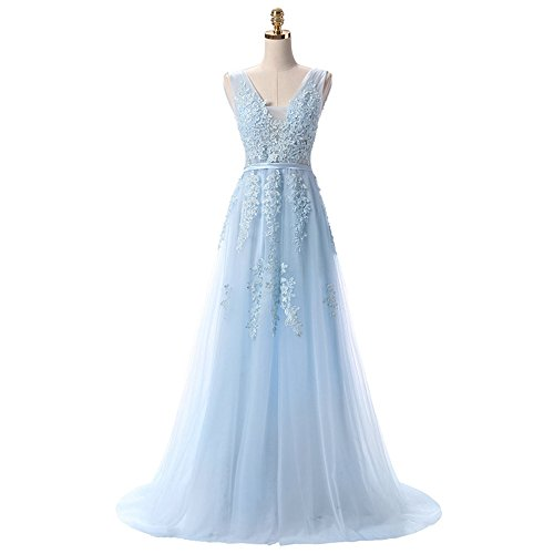 Buy light blue and pink prom dress - 2