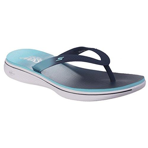 Skechers H2 Goga-Lagoon, Sandalias Flip-Flop para Mujer Azul Marino Celeste