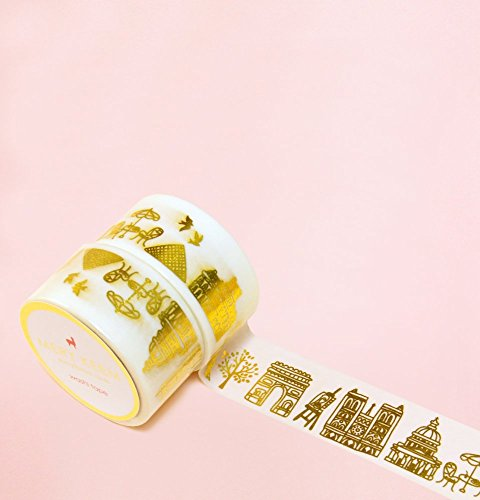 Paris in Gold Foil Washi Tape for Planning • Scrapbooking • Arts Crafts • Office • Party Supplies • Gift Wrapping • Colorful Decorative • Masking Tape…