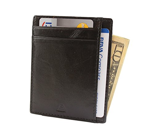 Andar RFID Minimalist Front Pocket Wallet - Made of Classy Full Grain Leather (Black) by Andar (Image #7)