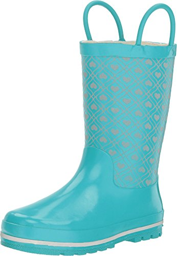 (Western Chief Girls' Quilted Heart Rain Boot-K, Aqua 9 M US Toddler)