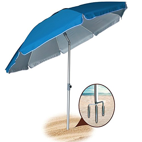 Integral Stand (AMMSUN 2018 6.5 ft Outdoor Patio Beach Umbrella Sun Shelter with Tilt Air Vent Inclined, Heat Insulation, Antiultraviolet Function, for Patio, Garden, Fishing, Sports, Outdoor, Camping, Picnic/Blue)