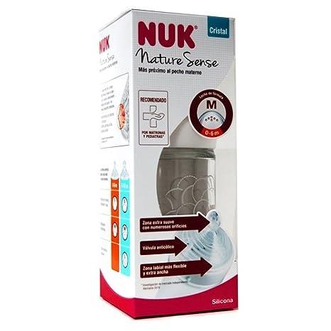 NUK Biberón 240ml Nature Sense, CRISTAL,tetina Silicona, M de 0-6m, colores sutidos