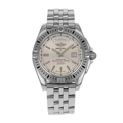 Breitling Galactic 44 Chronometer Sierra Silver Date/Day Dial Steel Mens Watch A45320B9-G797SS