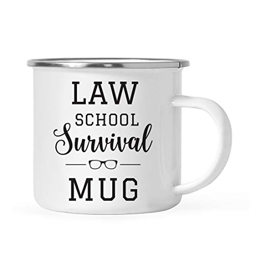 Andaz Press 11oz. Graduation Stainless Steel Campfire Coffee Mug Gift, Law School Survival Mug, 1-Pack, Includes Gift Box, Enamel Camping Cups for Graduates School Students of Class of 2019