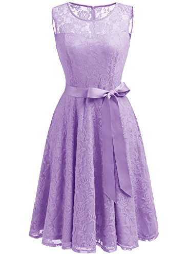 Dressystar 0009 Floral Lace Dress Short Bridesmaid Dresses with Sheer Neckline XS Lavender