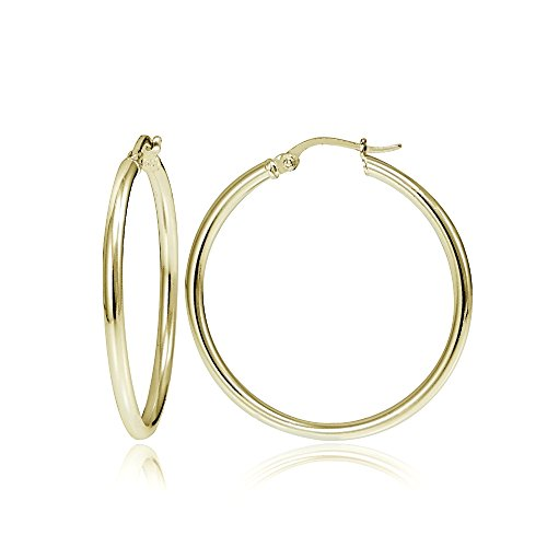 Hoops & Loops Flash Plated Gold Sterling Silver 2mm High Polished Round Hoop Earrings, 25mm (25 Mm Round Hoop)