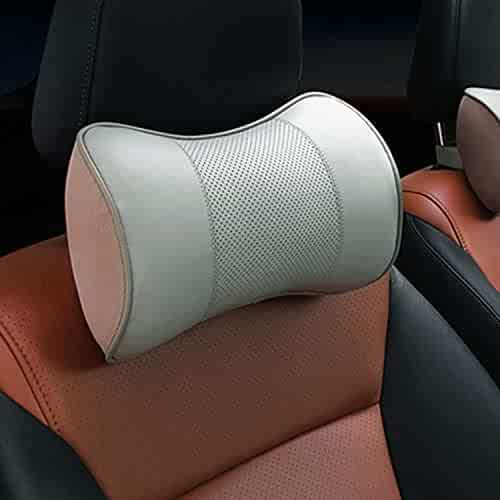 TSG GLOBAL 3D Genuine Leather Auto Car Seat Memory Foam Pillow Headrest Lumbar Support For Universal