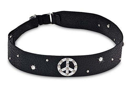 Pavilion- Black Leather Elastic Headband with Peace Sign & Gems]()