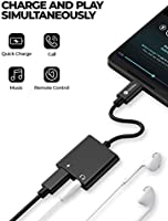 Linklike 2in1 USB C to 3.5mm Headphones Adapter, Type C USB to Audio Adapter, Fast Charging, Hi-Res Sound, Compatible with Google Pixel 2/2XL/3/3Xl, ...