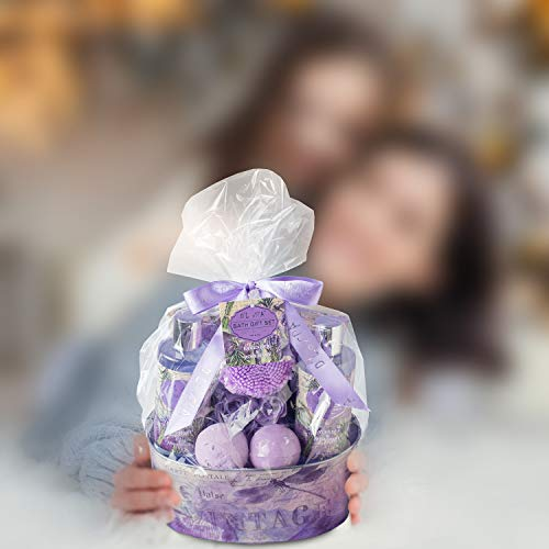 Relaxing Bath Gift Set for Women – Lavender and Rosemary Aromatherapy Basket at Home Spa Kit – Mothers day Birthday…