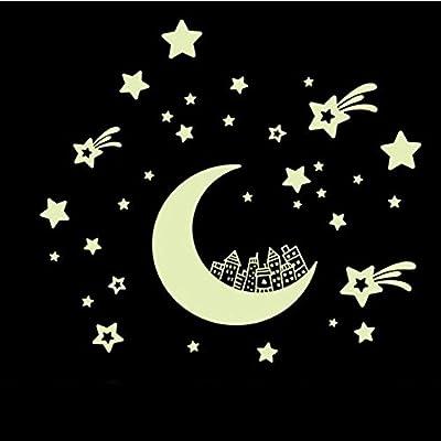 ZHANGVIP Moon Stars Removable Night Glow in the Dark Luminous Luminous wall sticker