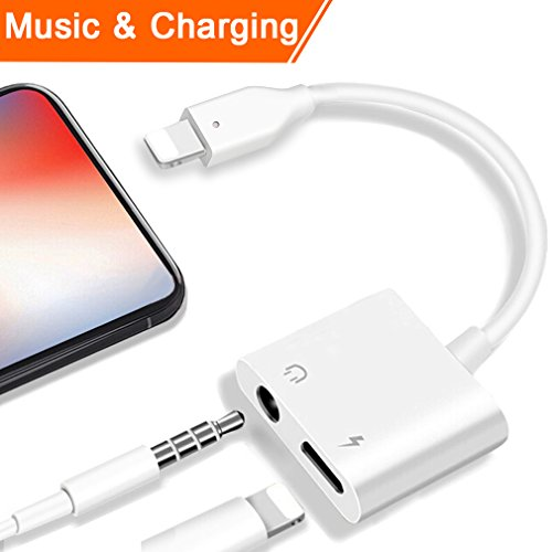 Dongle Cable - Lighting Headphone Jack Adapter Dongle for iPhone 7/7Plus 8/8Plus X 10 Aux Audio to 3.5mm Lightning Adaptor Splitter Charge+Volume+Earphone Converter ControlAccessories Charging Cable Support iOS 11.3