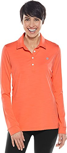 Coolibar UPF 50+ Women's Fitness Polo - Sun Protective (Small- Coral Punch)
