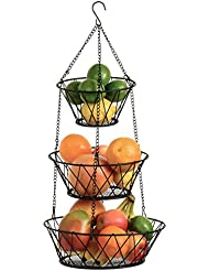 Hanging Fruit Basket 3 Tier, For Kitchen, Black, 25 Inches Long