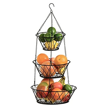 Heavy Duty Black 3-Tier Round Iron Hanging Basket - 25in Long / Powder coated in X Pattern