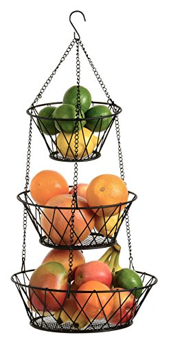 Heavy Duty Black 3-Tier Round Iron Hanging Basket - 25in Long / Powder coated in X Pattern (Hanging Onion Basket)