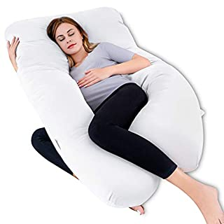 QUEEN ROSE Pregnancy Pillow, U-Shaped Maternity Pillow,Cooling Full Body Support Pillow with Washable Cover for Pregnant Women,White