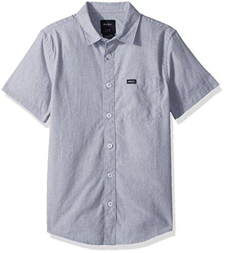 RVCA Boys' Big Arrows SHIORT Sleeve Woven Shirt, Heather Grey, XL (Shirt Sleeve Woven)