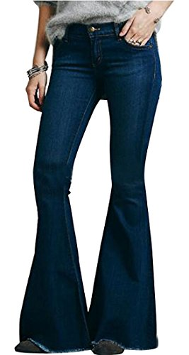 Oberora Womens Mid-Waist Elastic Bodycon Denim Flared Trousers Jeans Dark Blue M
