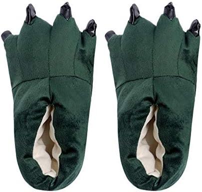 ぬいぐるみスリッパ ルームシューズ 恐竜スリッパ 爪付き ふわふわ 可愛い 冬 あったかスリッパ 男女兼用 室内履き 保温 防寒 アニマルスリッパ メンズ レディースもこもこ スリッパ ンズ レディース プレゼント グレー