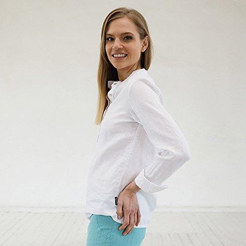 Blusa de lino en color blanco modelo Toby
