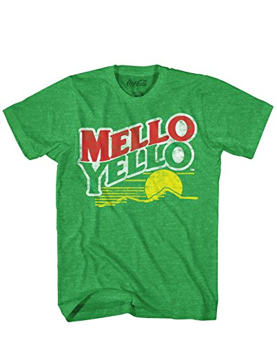 (Mello Yello Soda Pop Drink Funny Classic Vintage Mellow Yellow Apparel Logo Men's Adult Graphic Tee T-Shirt (Small))