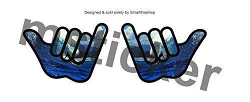 2pcs Hang Loose Surfer Sticker Decal Aufkleber Printed Car Tuning Hawaii Aloha Cool Hand Laptop Notebook