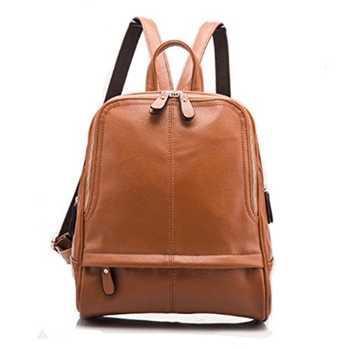 Casual PU Daypack Backpack Leather FOLLOWUS Brown Women Girl Rucksack 6UzqYP