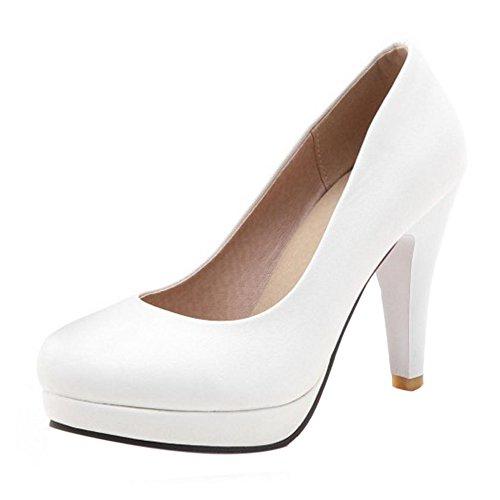 Cônique Escarpins Talon Femmes Plateforme Chaussures TAOFFEN Haut Blanc Élégant 0ztqOWw