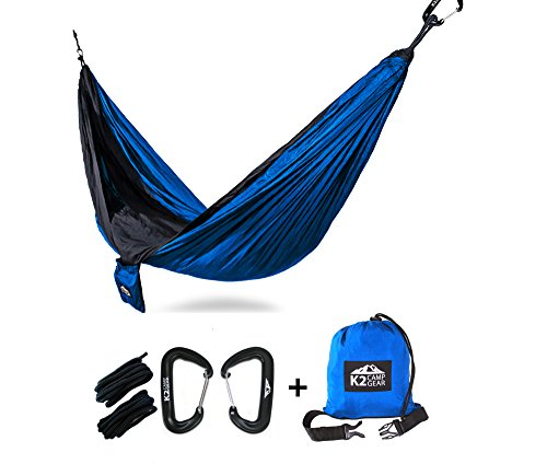 END OF SUMMER FLASH SALE OVER 45% OFF - K2 Camp Gear - Original Double Camping Hammock with Premium Aluminum Carabiners included (Blue/Black)
