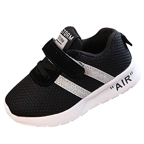 TANGSen Children Infant Kids Baby Girls Boys Mesh Solid Bling Sport Breathable Run Fashion Casual Shoes Black