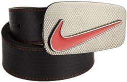 Nike Edge Stitch Belt with Laser Buckle (Black/Red, 38)