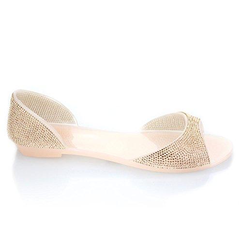 Aarz señoras de las mujeres de la tarde plano ocasional Diamante suave jalea deslizador Tamaño de los zapatos (Negro, Champagne, Blanco) Champagne