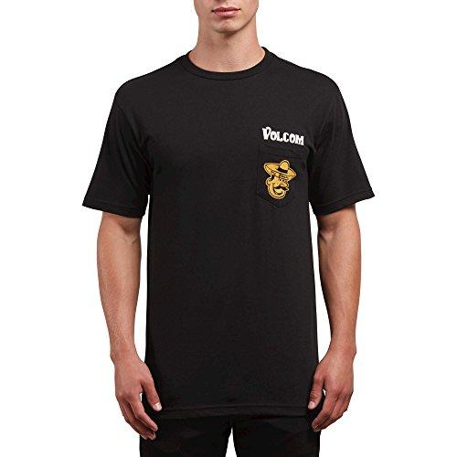 Gusta Tee Shirts - Volcom Men's Mi Gusta Short Sleeve Pocket Tee, Black, S