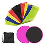 Cheap Premium 2 Core Sliders Gliding Disk+5 Exercise Resistance Loop Bands, Double-sided Sliding Discs, Resistance Loop Bands for Intense, Low-Impact Exercises to Strengthen Core, Glutes, Abs Fitness Workou
