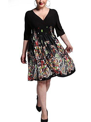 DH APPLE Plus Size Print V Neck Wrap Skater Dress (US2XL/CN5XL), Black (Wrap Flare Print)