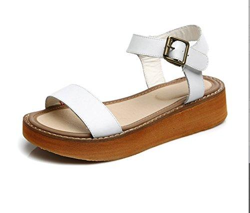 Xing Lin Sandalias De Cuero Verano Nuevo Tamaño Grande Sandalias Zapatos Con Plataforma Zapatos Casual Blanco Grande white