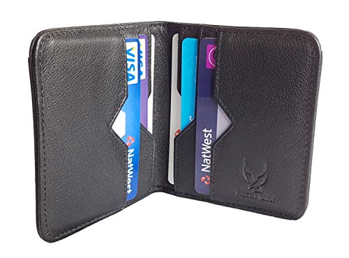 bee96170bf3d Falcon Vault RFID Blocking Bifold Men's Slim Genuine Italian Leather Wallet  in Black